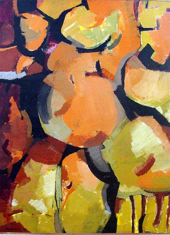 Ruth Faerber (b.1922) Abstract Berries 1965 Oil on board