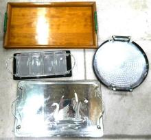 Four Trays including an Art Deco Style Wiles Tray & a Wooden Tray with Bakelite Handles