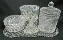 A Crystal Dressing Table Set incl. Tray, Perfume Bottle etc.