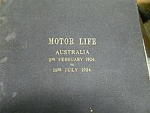 Bound copies of Motor Life Australia magazines, 1924, some damage and foxing