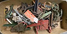 A small box of new old stock assorted tin toys, c 1940's