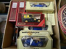A retail carton with new old stock matchbox models of yesteryear - various models inc 1945 MG TC and 1930 Ford Model A Wreck Truck