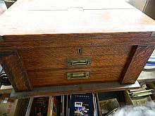 A cutlery canteen box (empty)with brass corners 37 x 50 x 26 cm