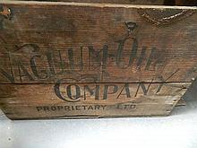An early timber Vacuum Oil Co box 53 x 37 x 27