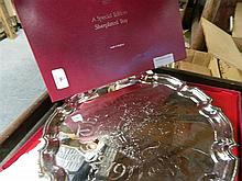 A silver plate tray commemorating the silver jubilee of Her Majesty Queen Elizabeth II
