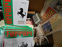 A box of assorted Ferrari register magazines and others