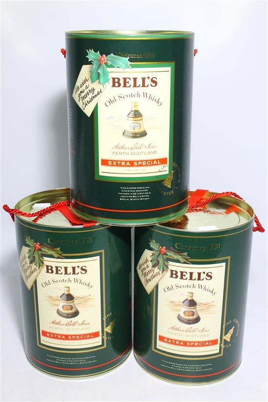 Three Bell's Christmas Edition Decanters,