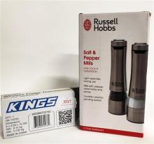 A wireless fridge thermometer marked Kings plus one touch salt & pepper mills marked Russel Hobbs