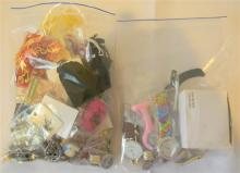 Two bags costume jewellery incl. watches, earrings, brooches, rings etc.