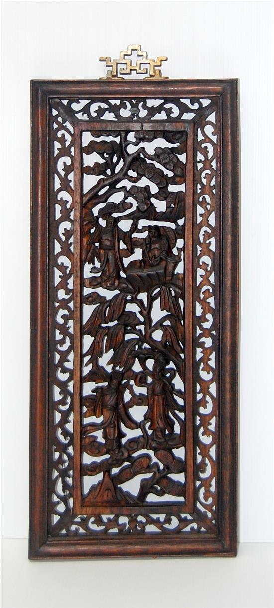 A chinese carved wood panel with figures auspicious symbol