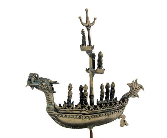 A pewter dragon boat on stand with figures - Pewter dragon statues ...