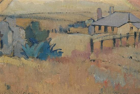 Horace Hurtle Trenerry (1899-1958, Australia) Cottage at Port Willunga oil on canvassed board