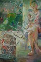 Jean Parker Sutherland (1902-1978, Australia) Seated Figure Beside Bird in a Cage oil on canvas, Jean Sutherland, Click for value