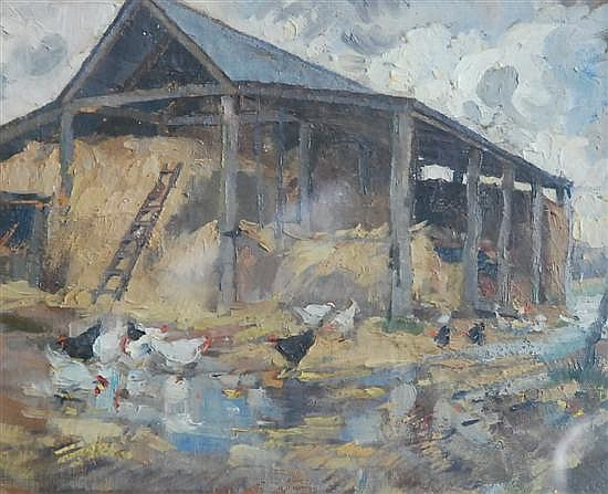 Horace Hurtle Trenerry (1899-1958, Australia) The Barn - Wet Day oil on card