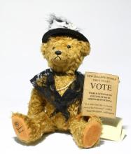 A Robin Rive Limited Edition New Zealand ''Votes for Women'' Kate Sheppard Suffragette Bear, No. 51 of 1000