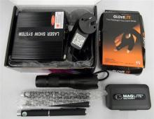 A mini laser light show system plus assorted flash lights & laser pointers