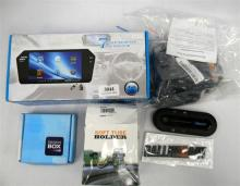 An assortment of car related accessories incl. phone holder, rear view monitor etc.