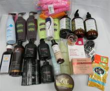 A large bag of specialty hair care products