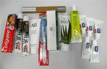 A bag of assorted oral hygene products incl. the bear bundles banana brush