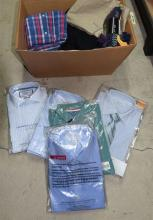 A box of assorted smart mens' clothing incl. Charles Tyrwhaitt shirts etc.