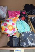A box of assorted young childrens clothing & accessories
