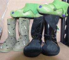 A pair of handmade Pixie shoes plus two pairs sheepskin boots size 6, kids 10 & similar