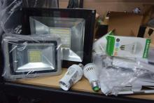 Two large LED flood lights plus assorted LED & other light fittings