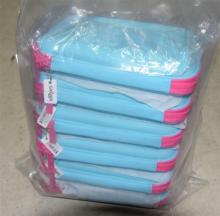 Six blue/pink pencil cases marked Smiggle