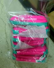 Six pink/green pencil cases marked Smiggle