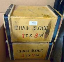 Two 1 tonne chain blocks in sealed boxes