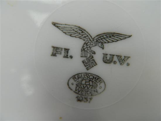 A WWII Third Reich Luftwaffe soup bowl stamp FI UV together