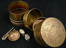 A 20th century Indian brass humidor with accessories
