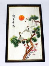An Embroidery on Silk with a Full Sun & Red Crested Cranes Roosting in A Pine Tree, early 20th Century
