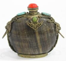 A Tibetan/Mongolian Horn & Silver Metal Snuff Bottle with Turquoise & Double Ring Lion Handles on the Broad Shoulders
