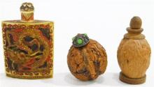 Two Chinese Carved Walnut Snuff Bottles & a Carved Bone Snuff Bottle, with a Dragon & Multiple Figures [3]
