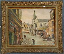 A S Thomas The Cafe Corio Oil on artists board