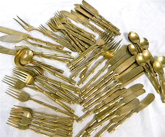 Canteen of Siam bronze cutlery (73 pieces), bamboo pattern