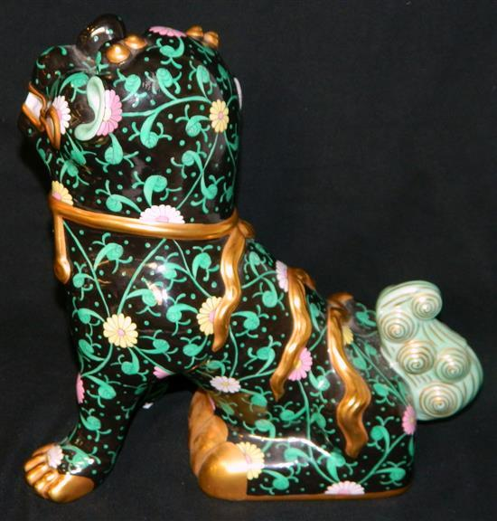 A pair of Herend handpainted 'Black Dynasty' Foo Dogs