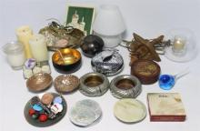 A Collection of Tabletop Items Including Ashtrays, Coasters, Candles, Ornaments & an Electric Lamp
