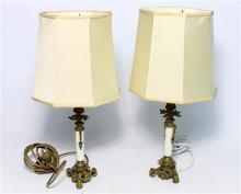 Two Electric Lamps with Intricate Brass bases & Cream Shades