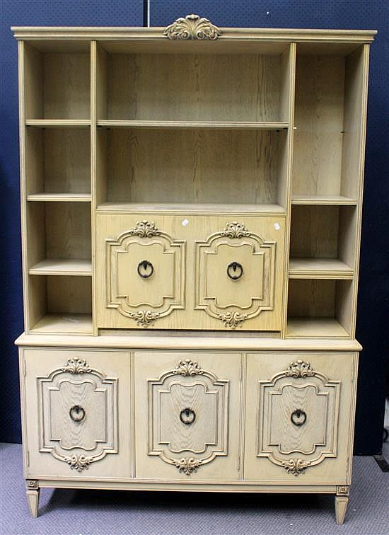 A cream painted two tier three door sideboard with built in for Built in drinks cabinet