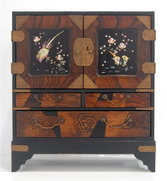 A Miniature Two Door Japanese Cabinet With Inlaid Wood Cop