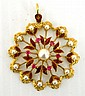 18ct yellow god brooch with twelve 3mm pearls, six synthetic rubies and enamel