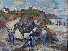 Jean Louis Le Toullec (1908-1999) French Collecting Seaweed, Brittany Oil on canvas