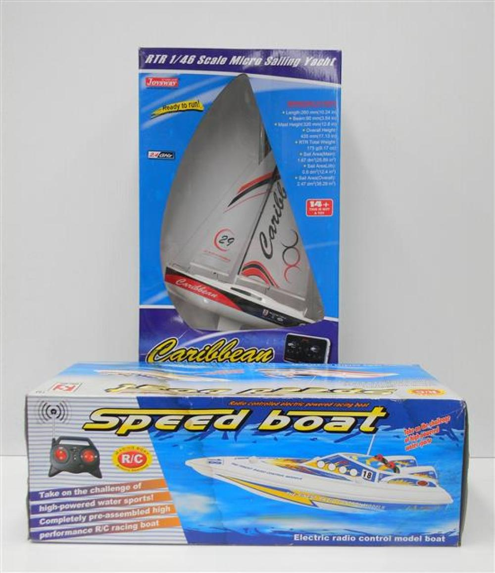 A Double Horse Remote Control Speed Boat 7001 [RRP $38] Plus a Joysway RTR 1/46 Scale Micro Sailing Yacht [RRP $79] in Slightly Dama...