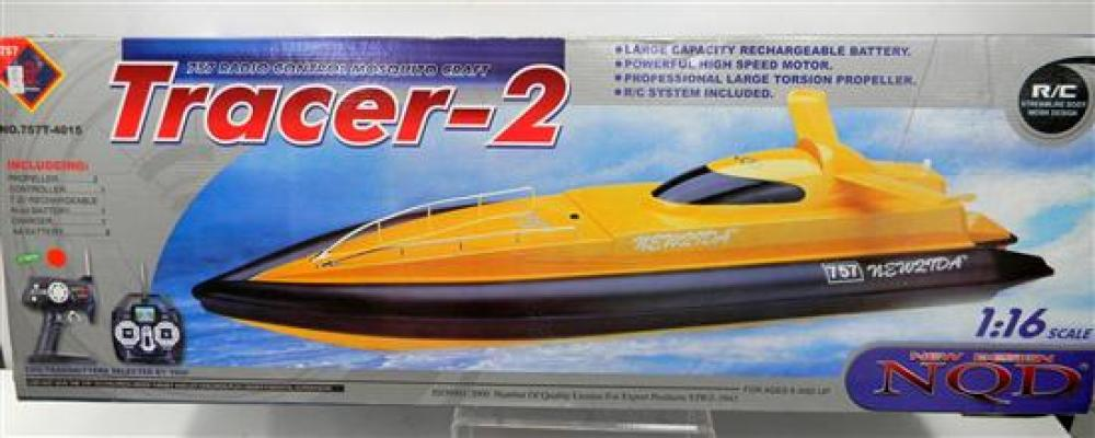 A NQD 1:16 Tracer-2 757 Radio Control Mosquito Craft in Yellow, in Slightly Damaged Box