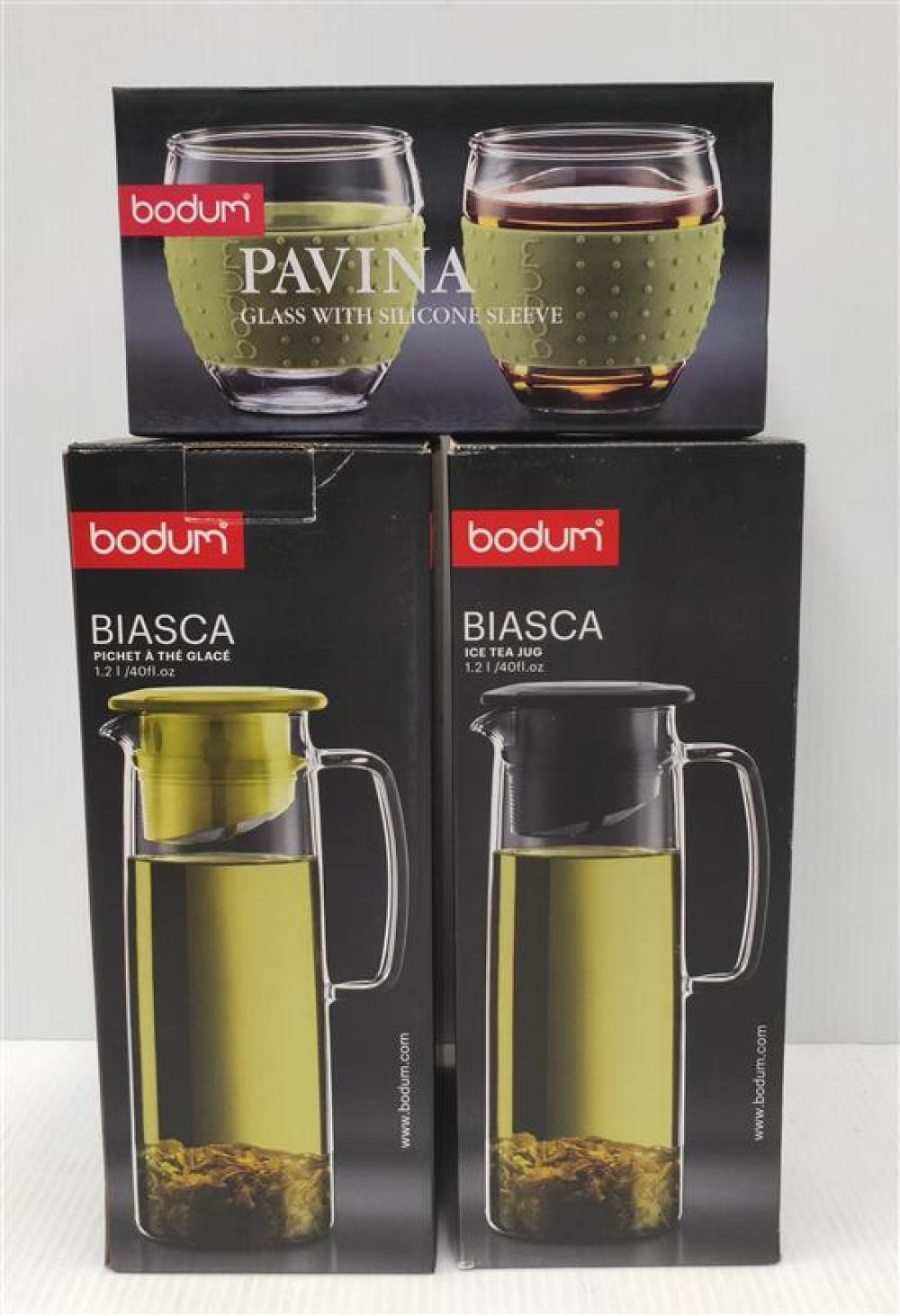 Two Bodum Biasca Ice Tea Jugs & A Set of Pavina Glasses with Silicone Sleeve, All in Green