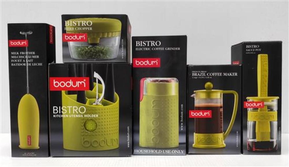 A Collection of Budom Items incl Coffee Grinder, Utensil Holder, Herb Chopper, Sauce Pot, Milk Frother & Coffee Maker (3 Cup) [6], A...
