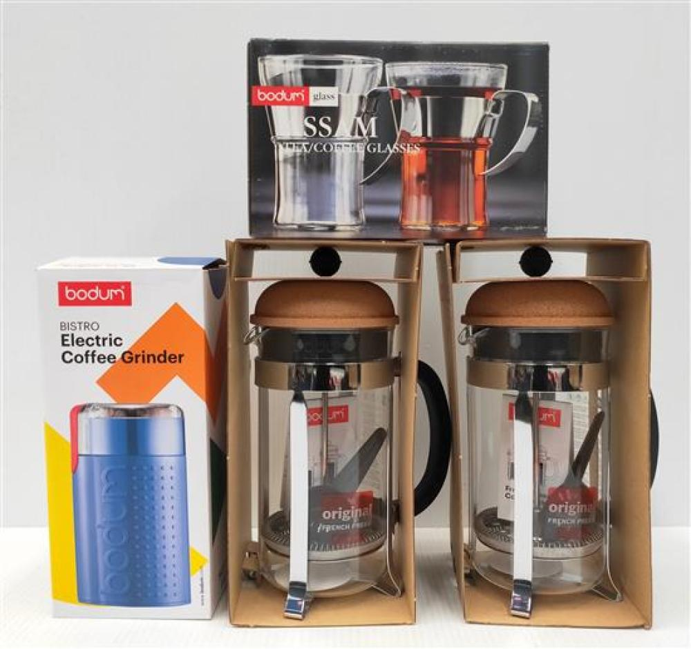 Two Chambord French Press (8 Cup), Set of Assam Coffee Glass & Electric Coffee Grinder (Orange)