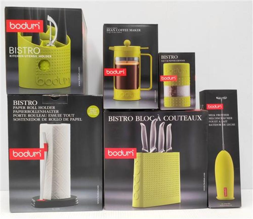 A Bodum Knife Block, Paper Towel Holder, Utensil Holder, Milk Frother, S&P Grinder & Coffee Maker (3 Cup), All in Green [6]